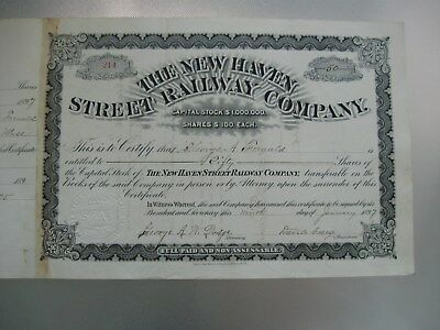 1897 The New Haven Street Railway Company Stock Certificate Issued