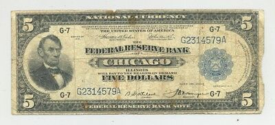 Fr. 794 Chicago, ILL issued $5 Series 1918 Federal Reserve Bank Note