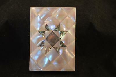 Victorian Calling Card Case Mother Of Pearl, Abalone And Silver