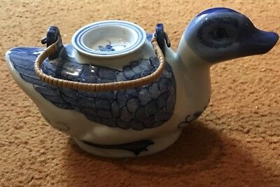 Vintage Blue & White Hand Painted Porcelain Duck Teapot - Made in China