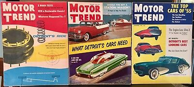 Lot Of Six Vintage Motor Trend Magazines 1955 - 'a Car For Land And Sea' - Ex