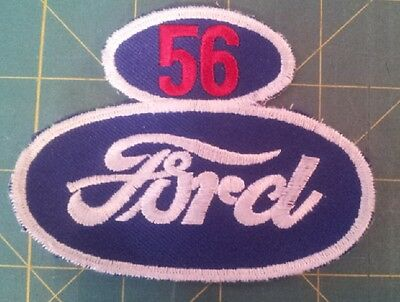 "Ford ""56"" Advertising Patch.  Good Condition, Cut-Edge, Embroidered On Twill."