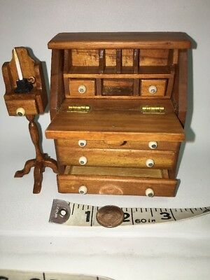 Artisan Made Miniature Dollhouse Wood Desk And Candle Table  1:12 Scale By JHS