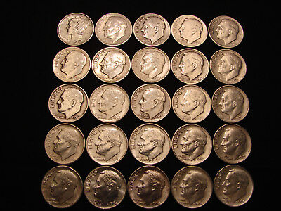Lot of 25 (1/2) Roll 90% SILVER DIMES 24 ROOSEVELT 1 MERCURY Dime (1941) #RD9162