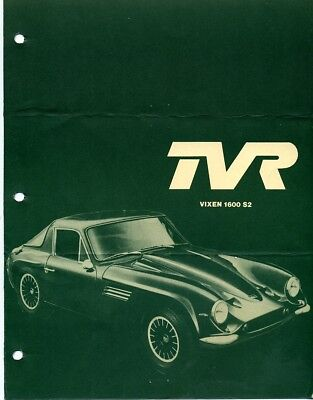 TVR Tuscan and TVR Vixen Sales Brochures from the early 1970's