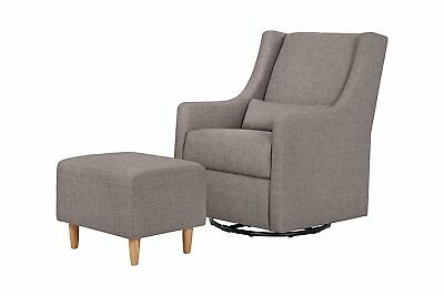 Babyletto Toco Swivel Glider and Ottoman, Grey Tweed