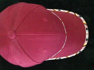 Baseball Cap Beaded Native American Seed Beads Cranberry