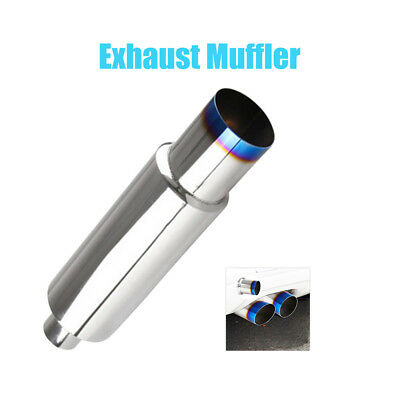 """2.5"""" Inlet Stainless Steel Exhaust Muffler With Removable Silencer Silver New"""