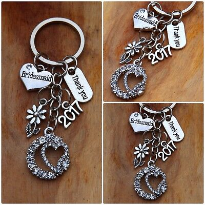 THANK YOU Bridesmaid,Flower girl,mother of bride,.... Wedding Gift keyring ##