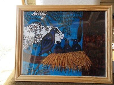"""Native American,makah Original Painting,""""the Raven,crow,hair Seal,signed,sueanne"""