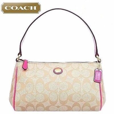 Nwt Coach F51175 Peyton Signature Top Handle Pouch