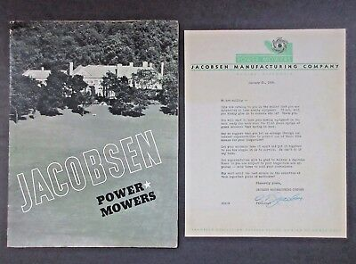 1938 WI Racine Jacobsen Power Mowers Tractor Catalog + Signed Letter