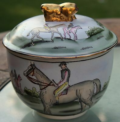 Vintage Nora Fenton Collectible Equestrian Design Lidded Bowl Horse Porcelain
