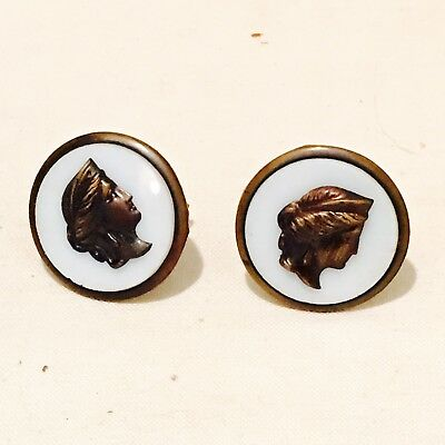 Antique Victorian Brass  & Glass Lady Head Cameo Profile Button Cufflinks 1.25""