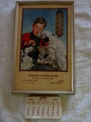Antique Thermometer SEAFORD LIQUORS NEW YORK  W PUPPIES   SEE