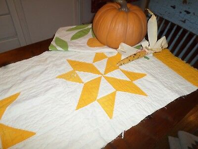Two Early Quilt Pieces Sunflower Yellow/Orange Great for Fall