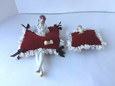 Two Vintage German Porcelain Half Doll Pincushions With Legs And Feet