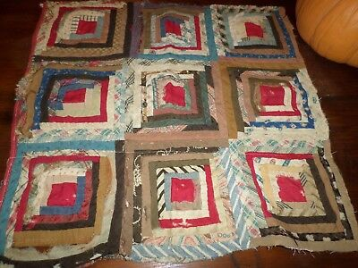 "Early Civil War Log Cabin Quilt Piece Great Old Fabric Both Sides 19"" X 19"""