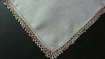 Vintage Variegated Chartreuse & Pink Crochet Lace White Irish Linen Hankie A13