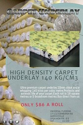 CARPET UNDERLAY HIGH DENSITY FOAM $4.75 m2 120KG/CM2 $Sydney region