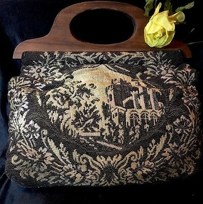 "Sewing Bag, Wood Handles ANTIQUE ENGLISH TAPESTRY COVER 12.5"" x 13"" Nice!"