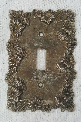Vintage Ornate Floral Metal Brass Single Toggle Switch Plate Cover
