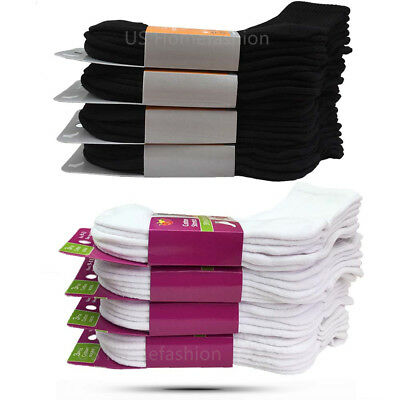 New Lot 3 12 Pairs Womens Sport Cotton Low Cut Ankle Socks Size 9-11 Black White