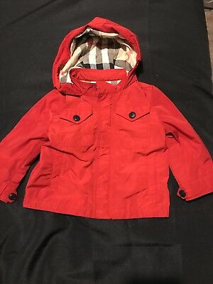 Burberry children Infant Red nova check Raincoat 9 months EUC