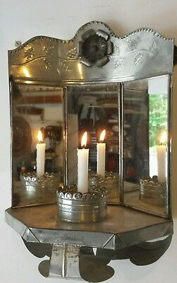 VINTAGE Two Antique Wall Glass Mirror Candle Holders