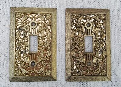 Lot Of 2 Vintage Ornate Filigree Metal Brass Single Toggle Switch Plate Covers