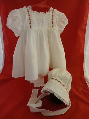 Vintage Little One by Johnston Girl's White Dress with Lace Trim and Bonnet 12 m