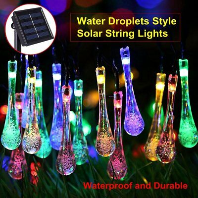 Solar String Lights Outdoor 20 LED Water Droplets Garden Christmas Fairy Lamp