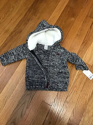 NEW NWT Carter's 6m 6 months 90% Acyrlic Wool Zip Up Hoodie Sweater Playwear