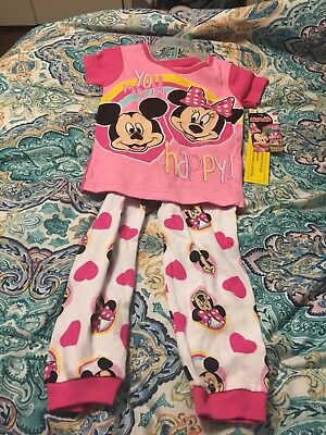 Disney Minnie Mouse Little Girls' Toddler Short Sleeve 2 PC Pajama Set 5T New