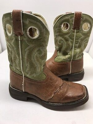 Girls Lil Flirt Durango Bt282 Kids/youth Sz 1 Tan/green Cowboy Boots