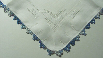 Vintage Variegated Blue White Tatted Lace Drawnwork Embroidered Linen Hankie T9