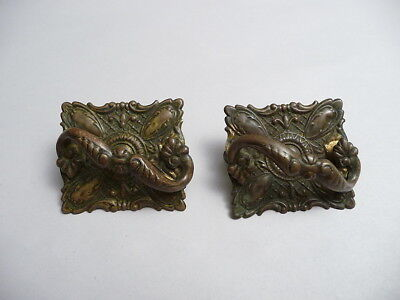 2 Antique Ornate Brass Sewing Machine Drawer Pull s