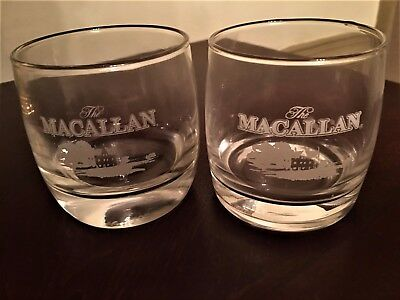 Two The MACALLAN Scotch Malt Whiskey Glasses Excellent Condition