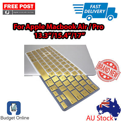 """Metallic Gold Keyboard Cover Protector for Apple MacBook Pro Air 13.3"""" 15.4"""" 17"""""""