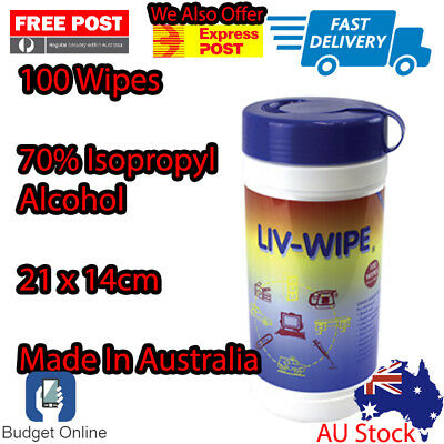 Liv Wipe Alcohol Wipe 100 Sheets 136x210mm 70% Isopropyl Alcohol Computer Wipe