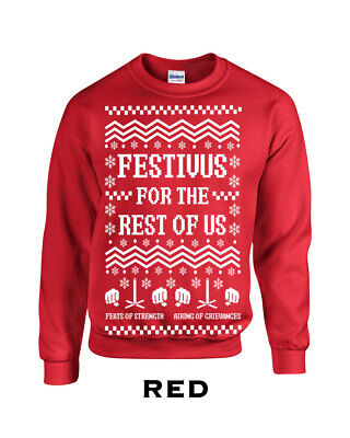Festivus for the rest of us Crew Sweatshirt ugly christmas sweater present 534