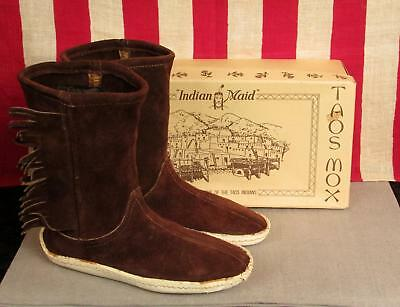 Vintage Taos Mox Leather Moccasins Indian Maid New Old Stock w/Box 5 Chocolate
