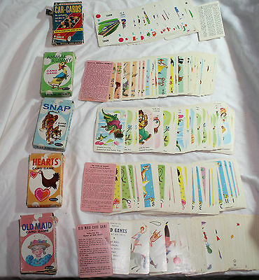 VINTAGE: Old Maid, Animal Rummy, Hearts & SNAP by Whitman AND Cards by Walker
