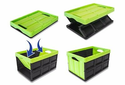 Instacrate Collapsible Crate Car Storage Container Green 46 Litre Insta Crate