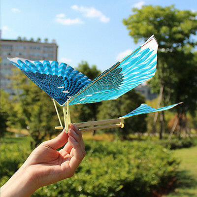 10X Rubber Band Elastic Powered Glider Flying Birds DIY AirPlane Kids Toy Gift