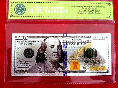 Banknote $100 Usa Color Silver America Dollar Bill 2009 Note Coloured 3D