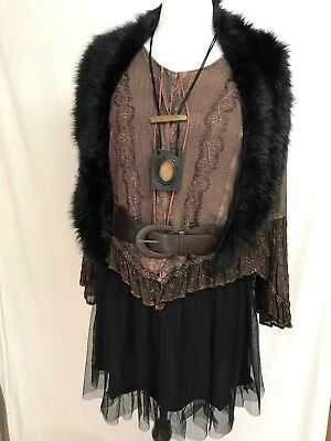 Full steampunk outfit inc. Top M. Dress 14. belt, necklace and fur shawl