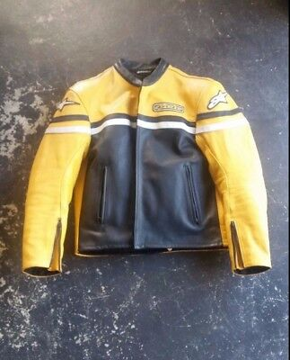 alpine star motorcycle leather jacket with internal shoulder and elbow pads.
