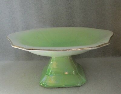 AS FOUND ROYAL WINTON GRIMWADES GREEN LUSTER Pedastal SOAP DISH TAZZA As Is