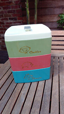Retro Vintage Storage Container Cookies Cakes Scones 3 Compartment Nylox